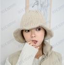 帽子女秋冬季網紅漁夫帽荷葉邊針織保暖毛線帽韓版日系百搭盆帽