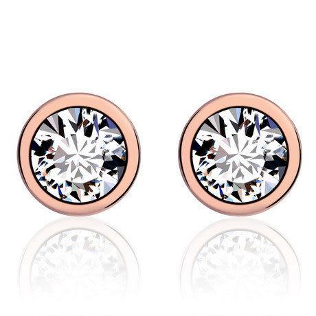 水晶之戀裸鑽耳釘 女 時尚耳飾品 電鍍18K真金