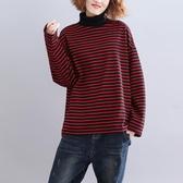 條紋加絨高領衛衣秋冬新款復古簡約寬鬆顯瘦加厚磨毛百搭打底上衣