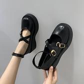 2021年小皮鞋女英倫風黑色洛麗塔夏季薄款lo百搭厚底增高日系jk鞋 【Ifashion】