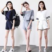 套裝 短袖短褲運動套裝女夏2018新款少女18學生寬松跑步休閒兩件套