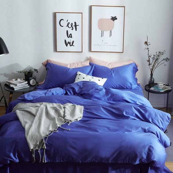 標準雙人床包組 長絨棉 亮紫色 5尺 雙人薄床包被套組 400針 柔軟  順滑 不起毛球 佛你