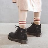 馬丁靴女春秋女鞋百搭單靴爆款新款靴子日系英倫風厚底短靴女 快速出貨