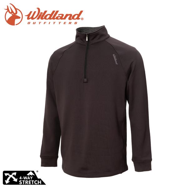 【Wildland 荒野 男 彈性立領拉鍊保暖上衣《煙灰》】0A72610/半領襟/運動衣/休閒衫/四向彈性