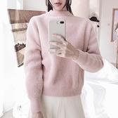 毛衣-兔毛純色加厚寬鬆套頭女針織衫4色73uc1【巴黎精品】