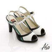 A.S.O 俐落職場 全真皮三色拼接高跟涼鞋 黑色