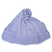 CalvinKlein CK字母絲質寬版披肩圍巾(藍紫色)103258