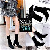 克妹Ke-Mei【ZT46945】歐美時尚感 彈力繃帶顯瘦粗跟爆長腿襪靴
