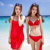【618好康又一發】泳衣女比基尼三件套性感罩杯鋼托泡溫泉度假