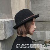 帽子女士時尚圓頂捲邊小禮帽韓版潮百搭漁夫盆帽英倫甜美可愛     琉璃美衣