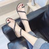 快速出貨 涼鞋女 夏季水鑽夾趾蛇形纏繞平底百搭羅馬鞋