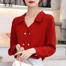 (促銷全場九折)V領洋氣雪紡衫春秋時尚翻領設計感小個子雙排扣打底襯衣小衫