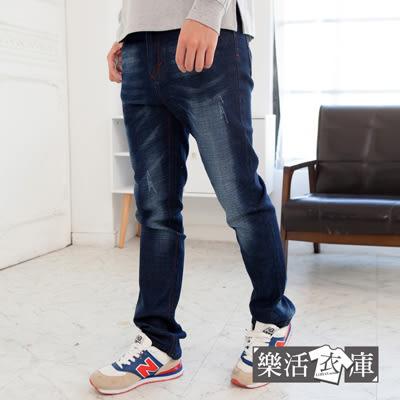 【7243】紅繡線徽章刷白伸縮小直筒牛仔褲● 樂活衣庫