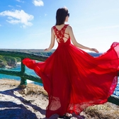 抖音同款連衣裙女夏性感露背無袖雪紡長裙超仙顯瘦紅色大擺沙灘裙「時尚彩紅屋」