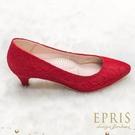 現貨 MIT小中大尺碼尖頭低跟鞋推薦 低跟和風 蕾絲緞面素面低跟鞋 21-26 EPRIS艾佩絲-性感紅