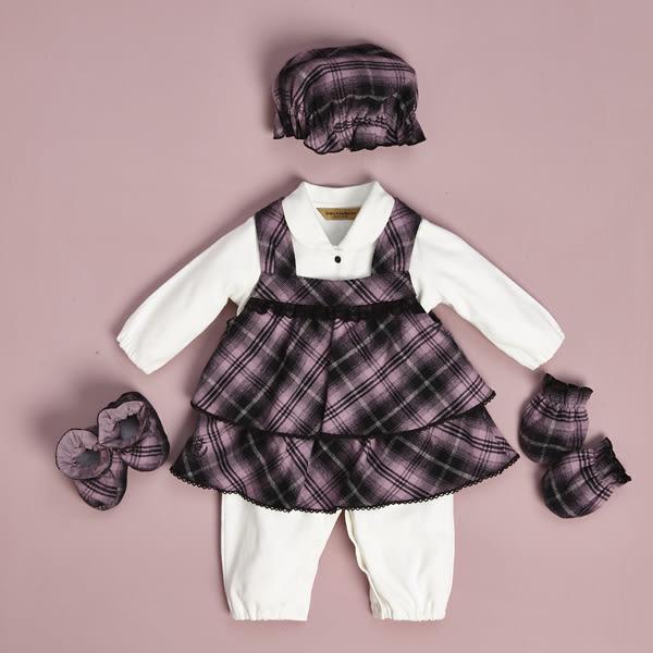 【金安德森】秋冬新生兒禮盒-蕾絲花邊背心裙套裝