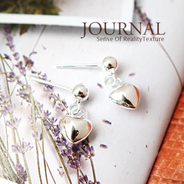 925純銀 銀亮愛心 垂墜 針式耳環_質物日誌Journal