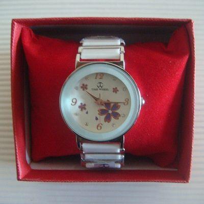 櫻花繽紛鑲鑽大鏡面日本機芯防水陶瓷淑女錶(白色)/腕錶/手錶(贈錶盒)