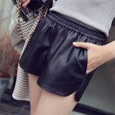 皮褲 pu皮褲短褲寬松高腰休閒大碼外穿闊腿褲 巴黎春天