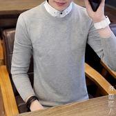新款假兩件毛衣男秋季帶領上線衣韓版潮流個性假領針織衫襯衫領毛衣男 街頭潮人