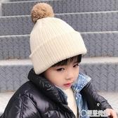 秋冬季兒童保暖雙層針織帽男童女童毛線帽子韓版套頭帽兔毛球帽潮 草莓妞妞