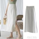 亞麻側開叉直筒裙夏季韓版包臀顯瘦棉麻中長款女半身裙 夏季新品