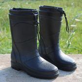 店長推薦★時尚季新款時尚仿皮男式雨鞋高筒加絨保暖雨靴機車水鞋套鞋