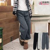 棉褲--輕鬆自然小車子抽繩刷毛棉褲(黑.淺灰.深灰M-2L)-P36眼圈熊中大尺碼