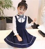童星閃閃女童裙子小女孩公主裙學院風連身裙女大童裝秋款衣服 居享優品