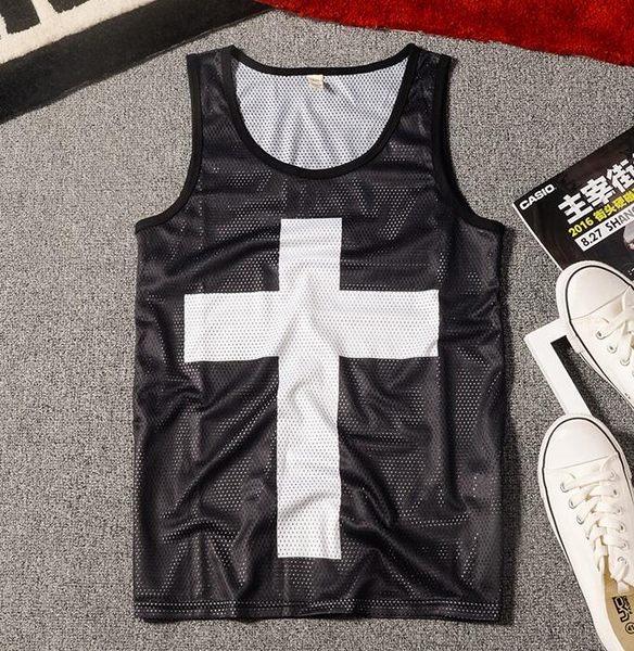 夏季個性牌街頭時尚運動籃球網眼背心大碼沙灘十字架男士背心 巴黎時尚生活