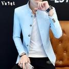 男士韓版立領西服春夏薄款中山裝休閒小西裝修身上衣個性夾克外套「時尚彩紅屋」
