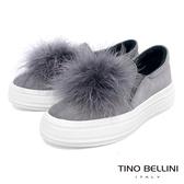 Tino Bellini雲朵般飄逸毛球全真皮懶人鞋_灰 TF8569