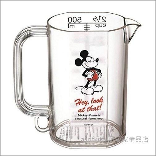 asdfkitty可愛家☆米奇透明塑膠量杯-500ML-日本正版商品