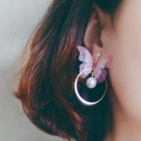 Qmigirl 韓版百搭簡約風雙層半透明蝴蝶圓環珍珠造型吊墬耳環 耳飾【QG2472】