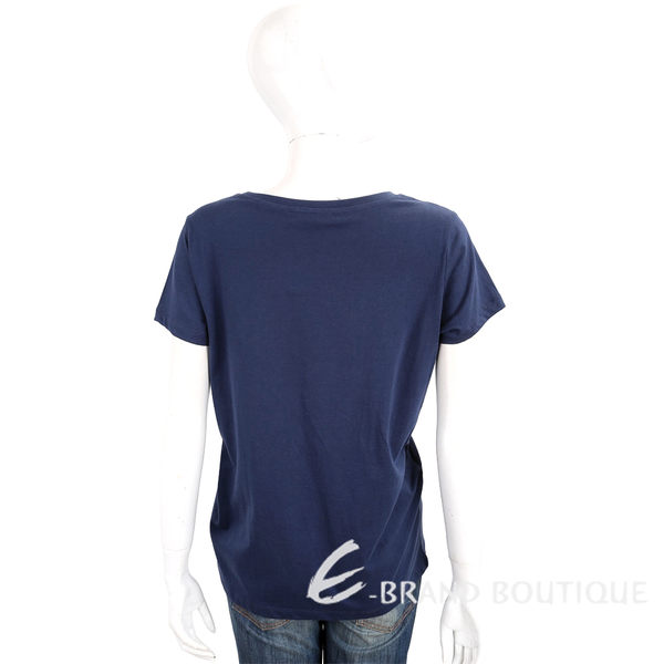TRUSSARDI 深藍色創意LOGO拼貼設計棉質短袖T恤 1720297-34