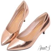 Ann'S漫步華爾滋-素色品味斜口低跟舒適尖頭鞋-玫瑰金