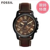 FOSSIL Grant 咖啡色皮革計時手錶 男 FS5088(時時樂限定款)