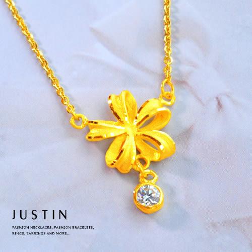 Justin金緻品 黃金項鍊 極光緞帶 金飾 9999純金套鍊 金項鍊 金鍊子 花型 緞帶