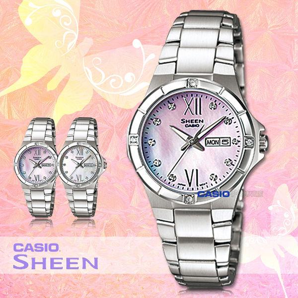 CASIO手錶專賣店 卡西歐 SHEEN SHE-4022D-4A 女錶 粉面 珍珠母貝錶盤 施華洛世奇 不鏽鋼錶帶