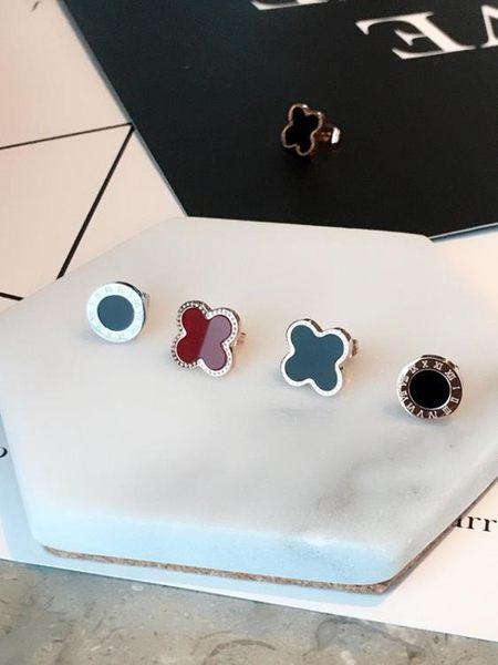雙十二  個性韓國耳釘 耳環鍍18K玫瑰金鈦鋼四葉草黑色耳飾品潮男女防過敏  無糖工作室