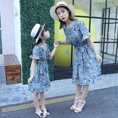 女童裙子親子裝夏裝2018新款粉色雪紡碎花短袖連身裙韓版母女裝潮