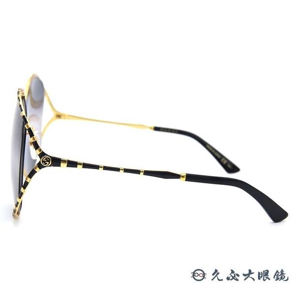GUCCI 太陽眼鏡 GG0595S (金-黑) 2019 珊瑚蛇系列 金屬圓框 墨鏡 久必大眼鏡