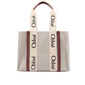 【CHLOE】Woody 帆布拼牛皮托特包(中款)(焦糖色) CHC21US383E6690U