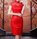 (45 Design) 宅配運 客製7到貨   新款旗袍新娘修身複古敬酒禮服旗袍短款演出結婚旗袍