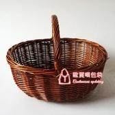 野餐籃 柳編藤編竹編手提籃子收納籃購物籃菜籃子編織花籃大號田園野餐籃T 2色