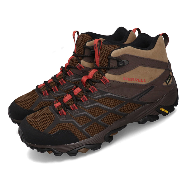 [好也戶外] Merrell MOAB FST 2 MID GTX 男登山健行鞋 咖啡/紅 NO.46603