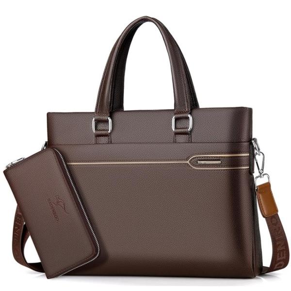 拜登袋鼠男包公文包商務手拿牛皮男士包包側背斜挎包手提包男「探索先鋒」