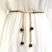 黑五購物節 夏季腰帶女細裝飾連身裙衣服配飾鏈子性感韓版簡約百搭仿珍珠腰鏈