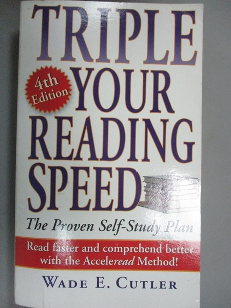 【書寶二手書T8/財經企管_JPW】Triple Your Reading Speed_Cutler, Wade E.