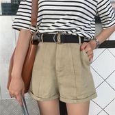 韓版寬鬆捲邊復古闊腿短褲顯瘦休閒熱褲百搭高腰牛仔褲女    琉璃美衣